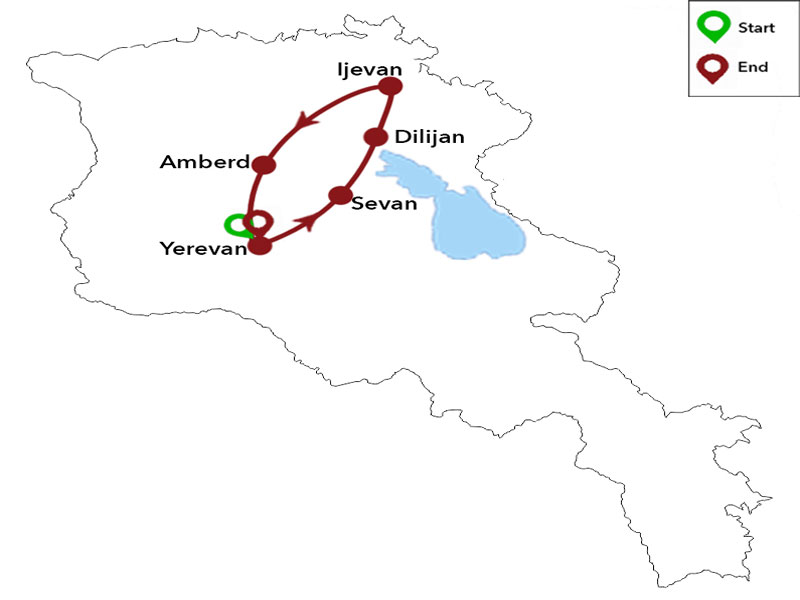 map-Horse Riding Tour in Armenia