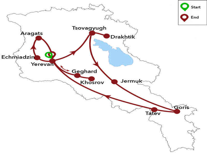 map-Mountain Bike Tour to Armenia