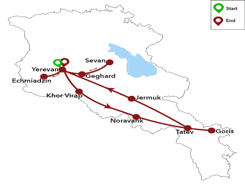 map-Summer Tour to Armenia - 6 days