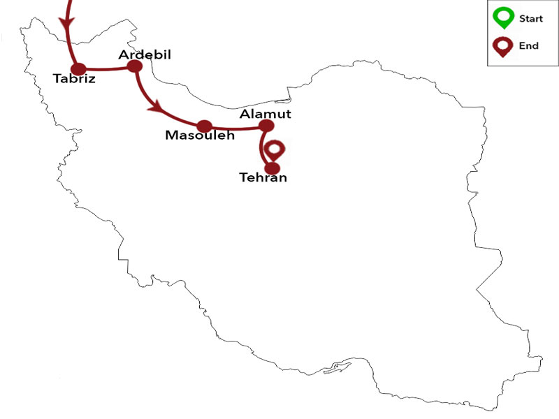 map-Armenien & Iran Sightseeing Tour