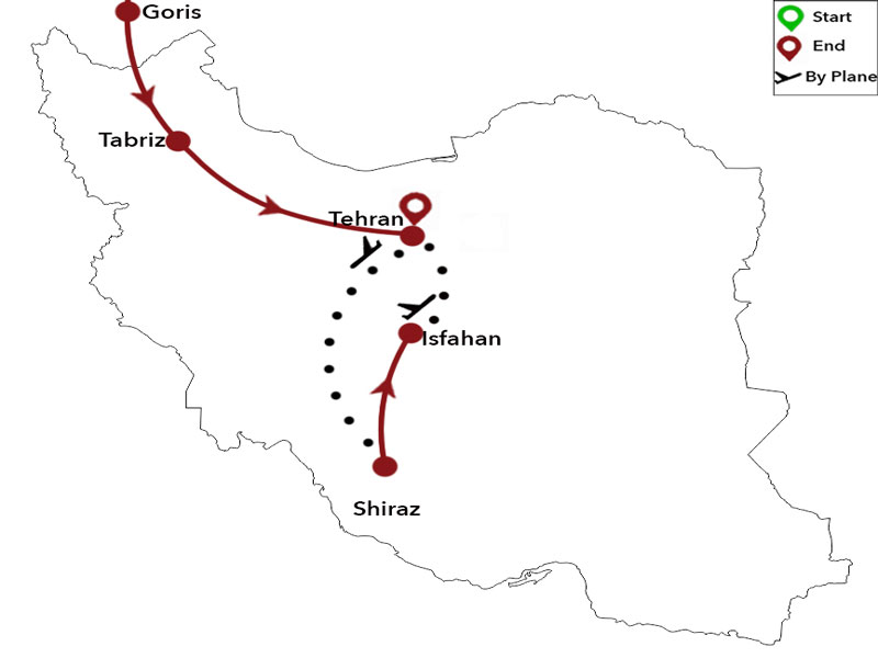 map-Cultural Tour to Georgia, Armenia and Iran