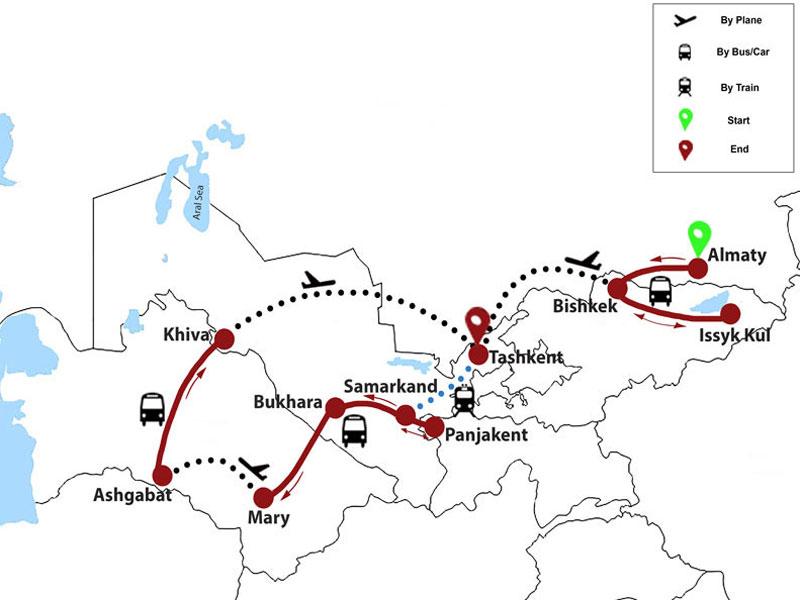 map-Voyage sur la Route de la Soie