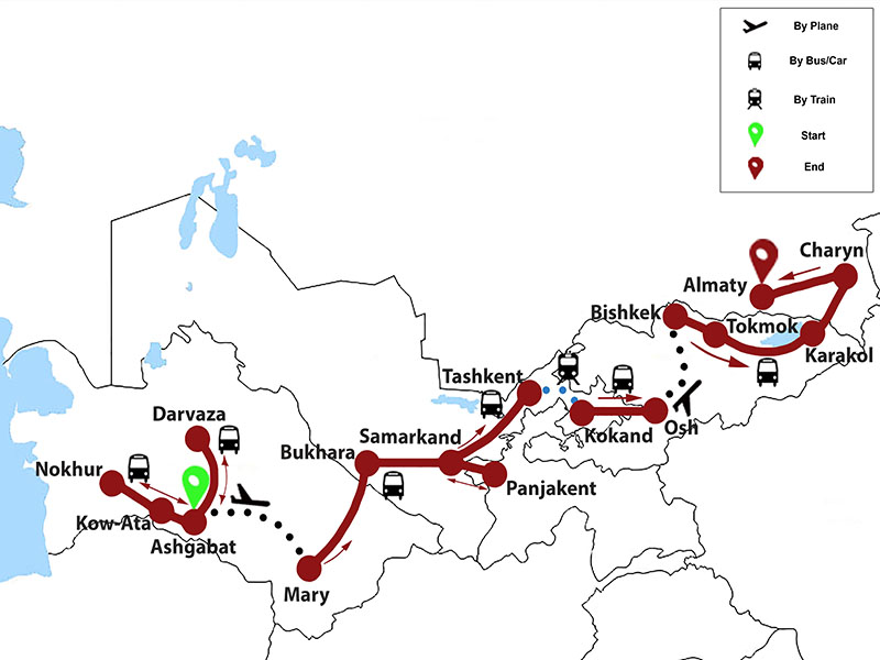 map-Group Tour to 5 Stans of Central Asia